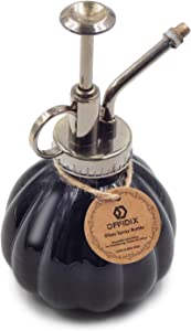 "OFFIDIX Plant Mister Flower Watering Can, 6.3"" Tall Vintage Pumpkin Style Black Color Glass Spray Bottle & Bronze Plastic Top Pump Ideal for Watering Small Plants Inside Home or Office"