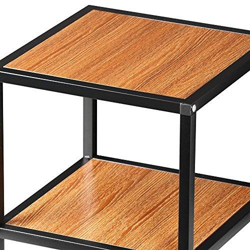 "Yaheetech 2 Tier 15"" Square Wood Coffee Table Metal Legs"