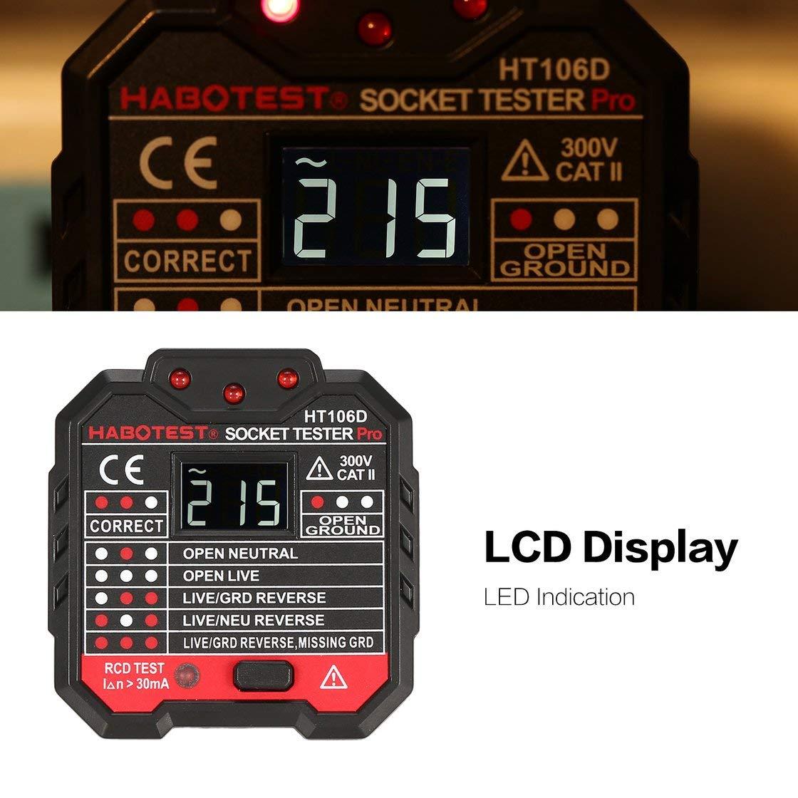 HABOTEST HT106D Testeurs de prises Test de tension D/étecteur de prises Fiche UE Prise de terre Prise de ligne z/éro Fiche de polarit/é V/érification de phase