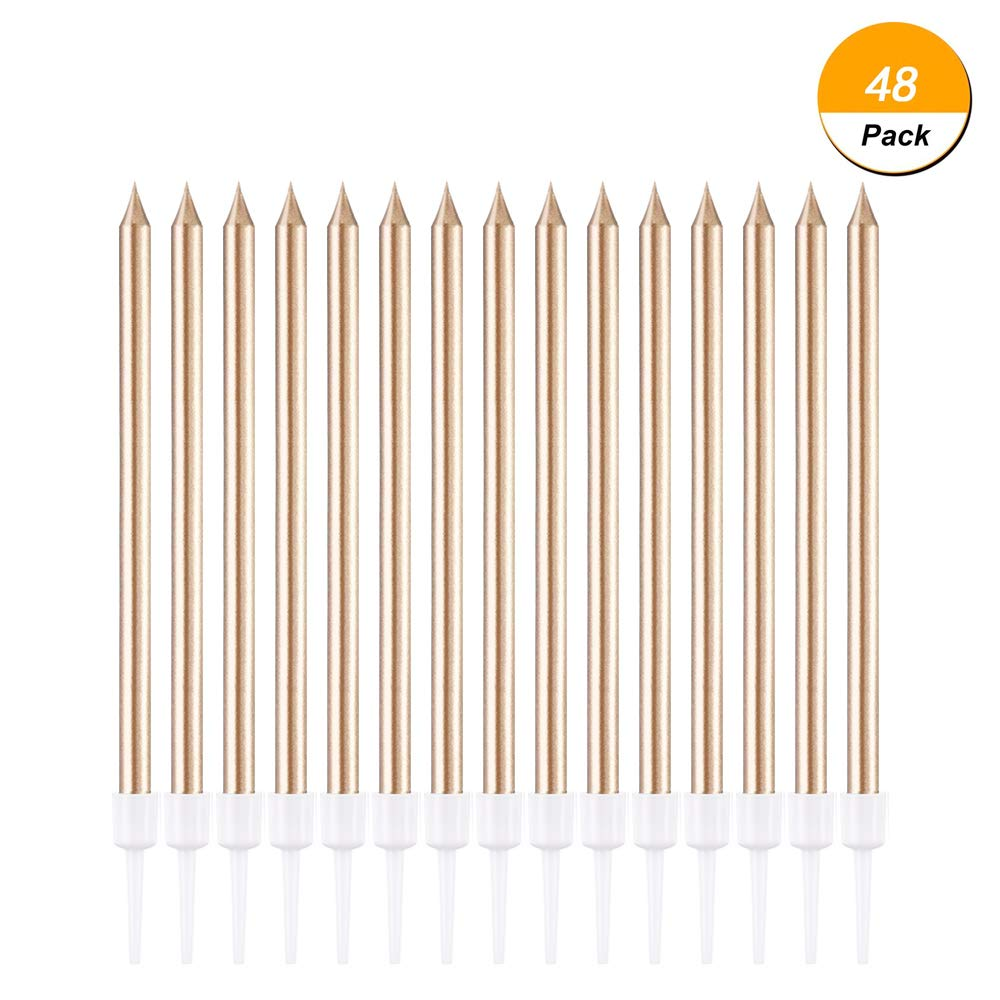 Debolic 48 Count Rose Gold Birthday Candles Long Thin Metallic Cake In Holders For Cakes Cupcake Decorations Wedding