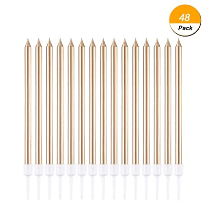 Debolic 48 Count Rose Gold Birthday Candles Long Thin Metallic Cake In Holders