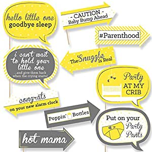 Funny Yellow and Gray - Hello Little One - Baby Shower Photo Booth Props Kit - 10 Piece