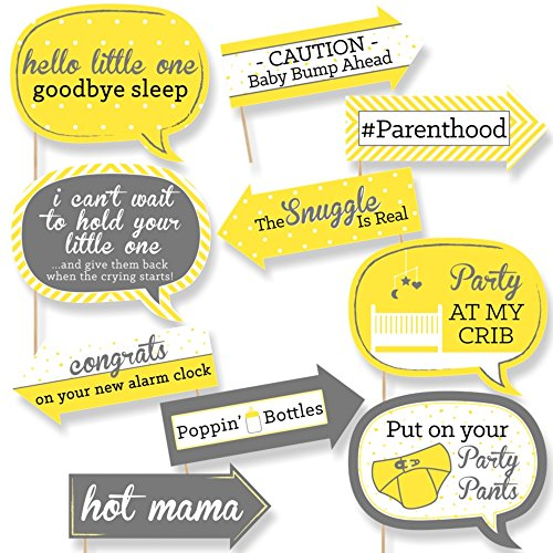 Big Dot of Happiness Funny Yellow and Gray - Hello Little One - Baby Shower Photo Booth Props Kit - 10 Piece