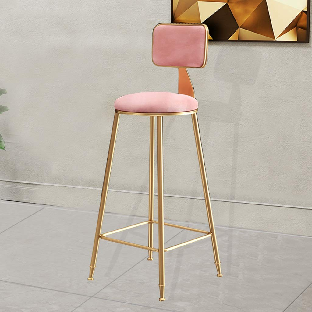 Pink 65cm Seat height Barstools - European Style Bar Stool Creative Iron Art High Foot Chair Modern Simple Cafe Counter Leisure Dining Seat Household 0426A (color   White, Size   45cm Seat Height)