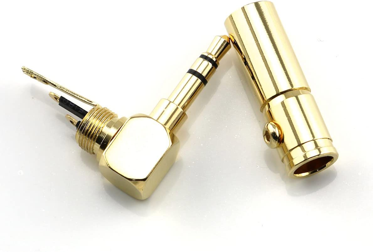 Heyous 1 x 3.5mm Headphone Plug DIY with 6mm Wire Hole 24K Gold Plated Pure Copper 3 Pole Male Stereo Audio Jack Connector
