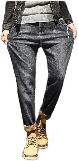 Romancly Men's Loose Fleece Fashion Casual Classic Fit Harem Denim Jeans