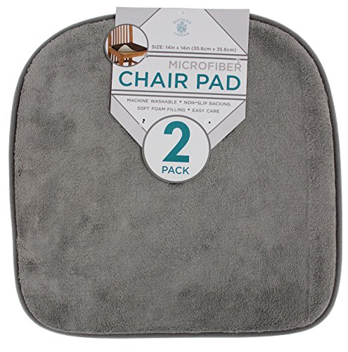 2 Pack Chair Pads (Sultan's Linens 2pk Microfiber Chair / Seat Cushion Pads (Grey))