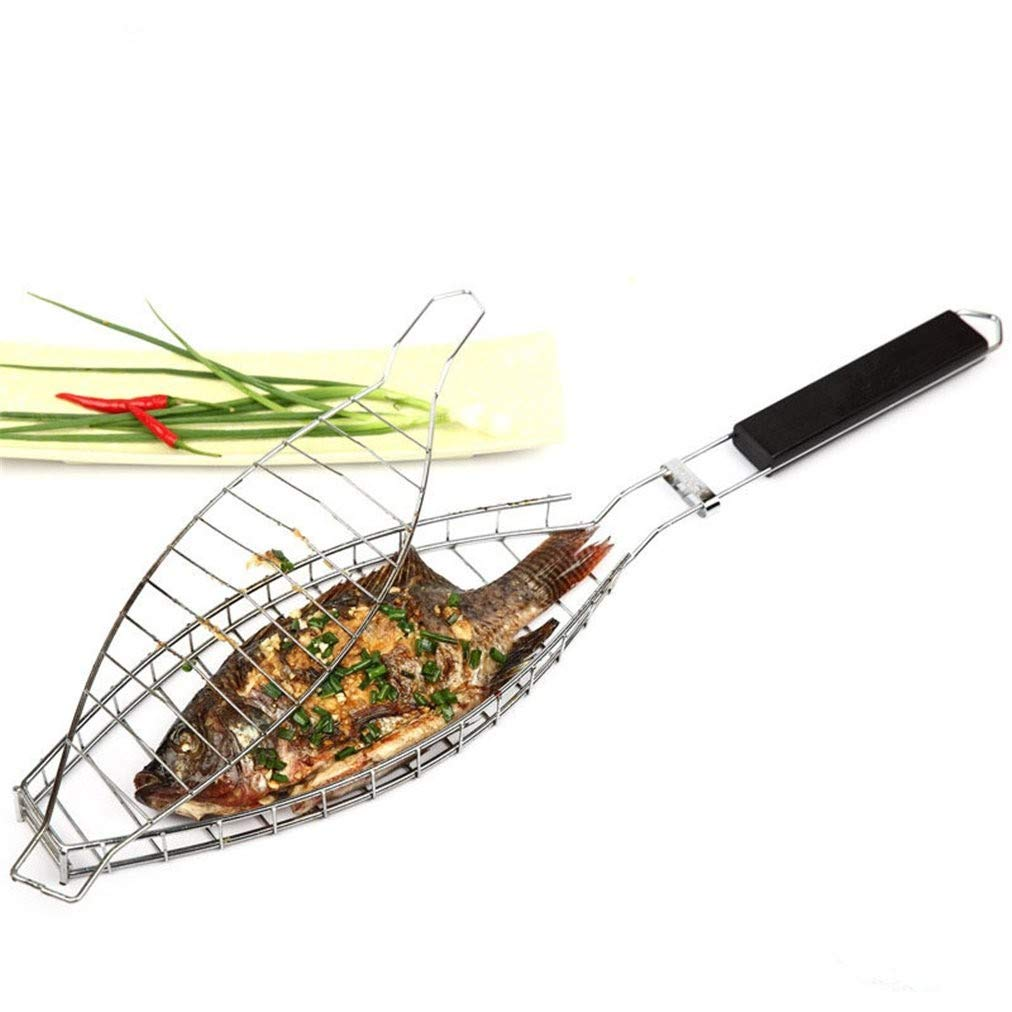 Portable BBQ Tool for Cooking Fish Vegetable Meat Sausage 68 x 14 x 2.5cm JANRON Barbecue Grilling Chrome Fish Basket Large Basket Grates Roast Folder Tool with Wooden Handle