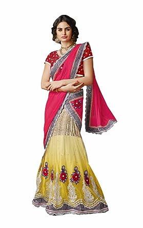 b8c0269535 INMONARCH Womens Fuschia Pink and Yellow Lehenga Saree SSA3508 Stitched
