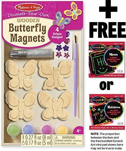 Melissa & Doug Wooden Butterfly Magnets: Decorate-Your-Own Kit & 1 Scratch Art Mini-Pad Bundle (09515) -