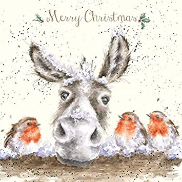 Artistic Christmas Card Wre1014 The Christmas Donkey Wrendale Designs Foil Finish