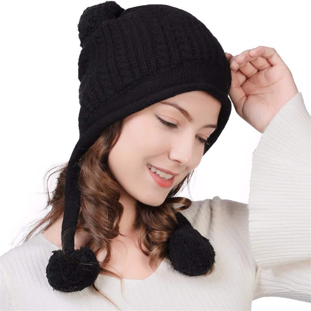 WIONWOW Women Winter Warm Knitted Hats Wool Fleece Cute for Girls Casual Bonnet Gorros