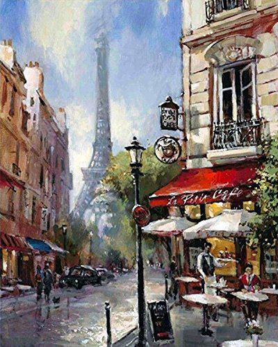 DIY Crystals Painting Kit 5D Resin Full of Diamond Painting By Number Kits The Streets Of Paris (40x50)CM/(15x20) Inches