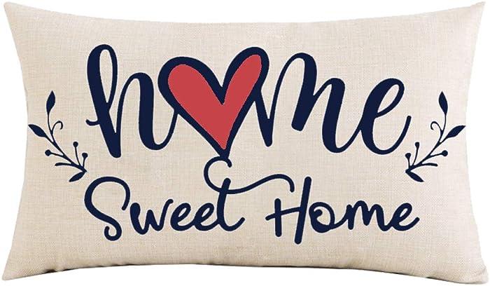 Jimrou Throw Pillow Cover 12x20 inches Festival Gifts Watercolor Home Sweet Home Red Love Dark Blue Font Decor Cotton Linen Decorative Home Sofa Chair Car Lumbar Throw Pillow Case Cushion Cover