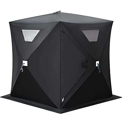 Happybuy Ice Fishing Shelter 2 3 4 8 Person Pop-up Ice Fishing Shelter Waterproof Portable Ice Tent for Outdoor Fishing