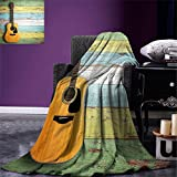 smallbeefly Music Decor Digital Printing Blanket Acoustic Guitar on Colorful Painted Aged Wooden Planks Rustic Country Decor Summer Quilt Comforter Multicolor