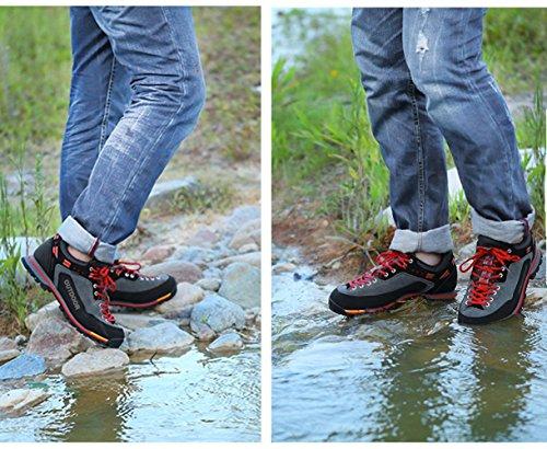 Weweya Herren Wanderschuhe High Top Trekking-Schuhe Rutschfeste Atmungsaktive Wanderschuhe Trekking-Sneaker 1-Rot