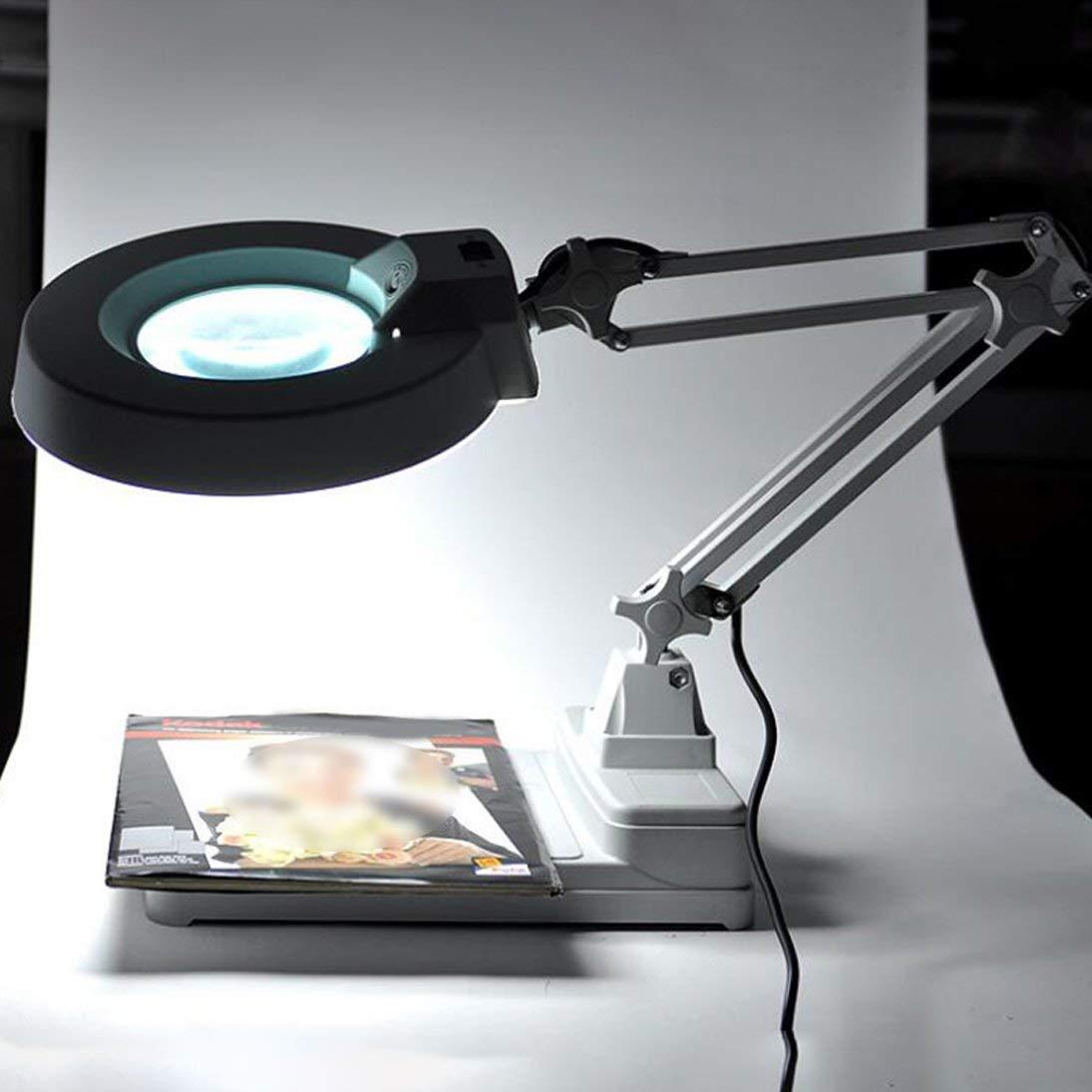 Vinmax 10X Desktop Magnifier Lamp with LED Light |Adjustable Arm Magnifier Lamp Light Magnifying Glass Lens Diopter Folding Magnifier, 110V/220V by vinmax (Image #2)