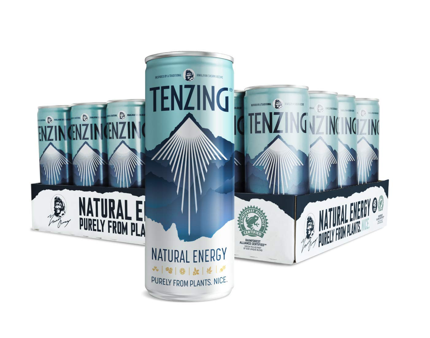 TENZING Natural Energy Drink Made Purely from Plants, Pack of 24 x 250 ml