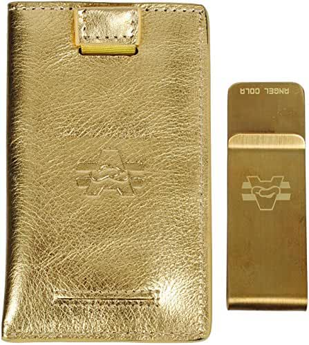 Angel Cola Metallic Genuine Leather Slim Front Pocket Money Clip Holder Wallet