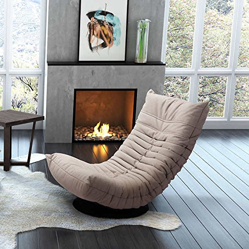 Ozzie Best Modern Plush Tufted Black Metal Base Folding Armless Indoor Swivel Lounge Chair in Beige price