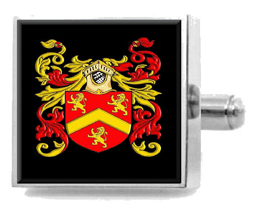 Select Gifts Owen England Heraldry Crest Sterling Silver Cufflinks Engraved Message Box