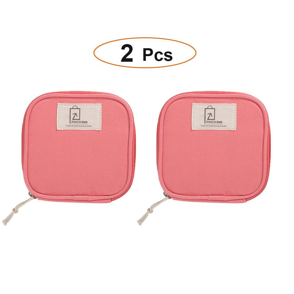Zhenxinmei 2 Pcs Small Item Storage Mini bag, Portable Jewellery Data Line  Sanitary Napkin Kits 10168434de