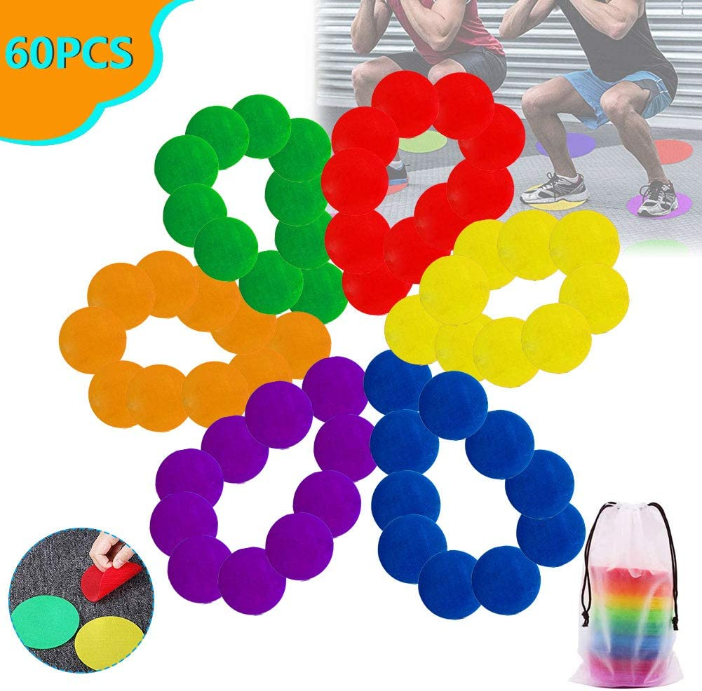 Abigalemee Sitting Spots Carpet Markers Non Slip Floor Spots Circles Classroom Sitting Dots to Educate with Carrying Bag for Kids Sports Training School Activities Exercise Drills and Yoga