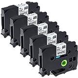 5 Pack Equivalent Brother P touch Tape TZe231 / TZ231 / 12mm x 8m / Black on White / TZ Tape Laminated Label Tape for Brother Label Maker PT-1000 PT-1010R PT-2030VP PT-2430PC PT-D600VP