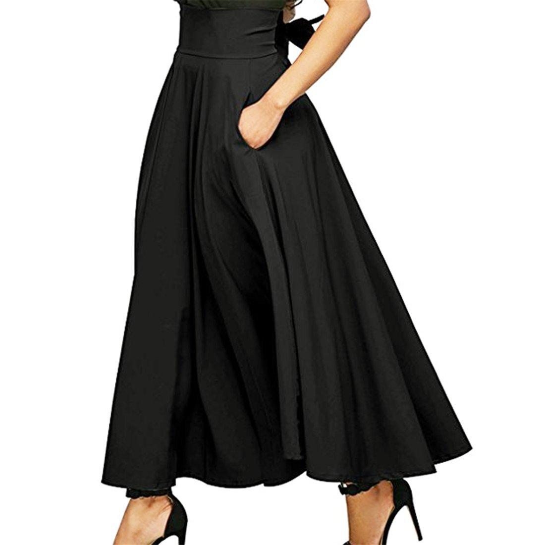 Hemlock Long Skirt Dress High Waist Office Lady Skirts A Line Maxi Skirt Dress (L, Black)