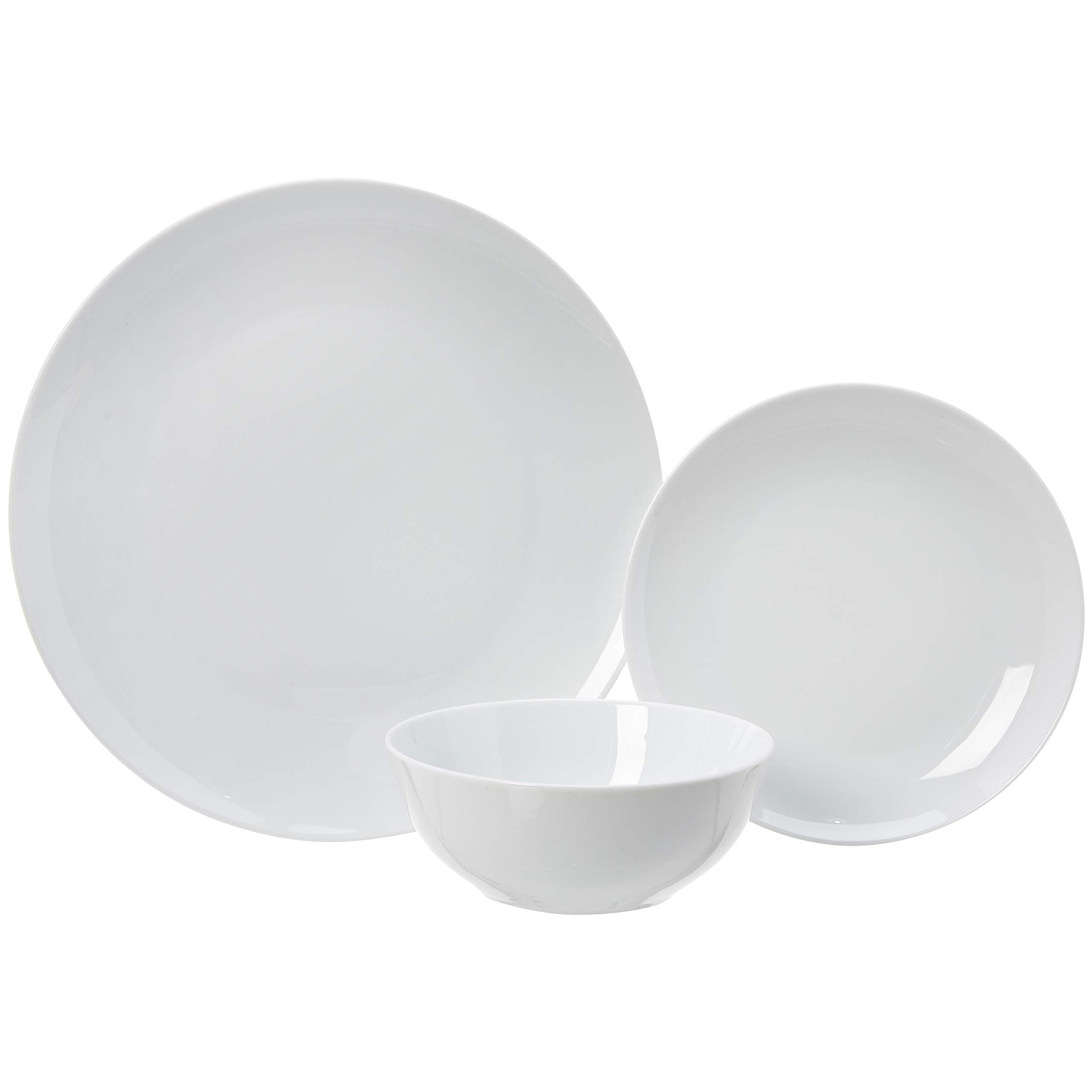 AmazonBasics 18-Piece Kitchen Dinnerware Set, Dishes, Bowls, Service for 6, White Porcelain Coupe by AmazonBasics (Image #4)
