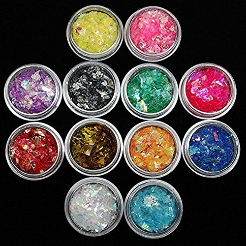 12 Colors Nail Glitter Ice Mylar Shell Foil Slice Nail Art Decoration Tools (12 color) (Nail Art Treatment)