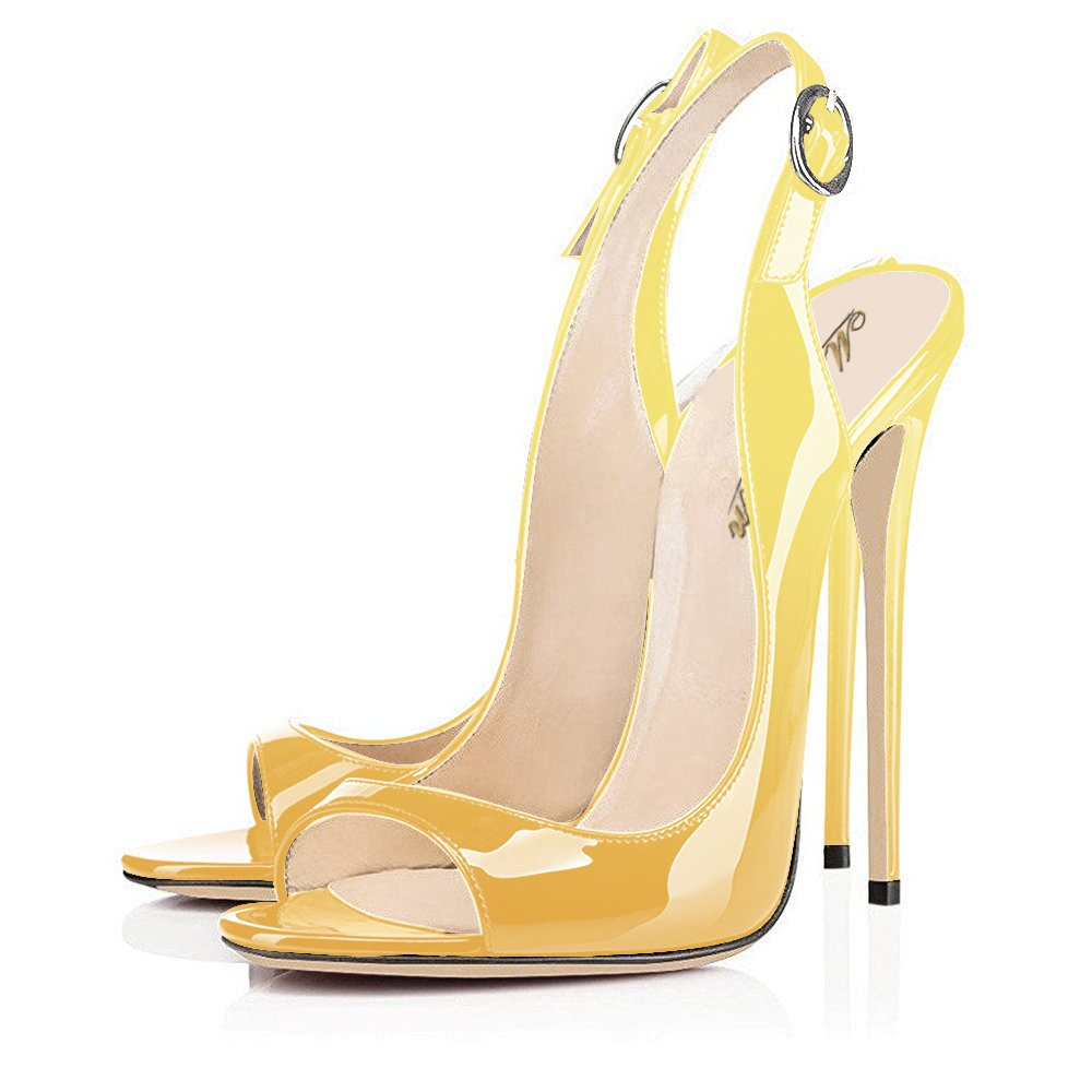 Modemoven Women's Heels,Slingback Patent Leather Pumps,Peep Toe Heels,Slingback Women's Sandals,Evening Shoes,Cute Stilettos B06XW2M2BG 10.5 B(M) US|Yellow Black efbfb5