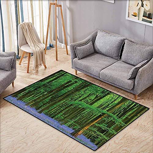 (Large Door mat,Woodland Decor,Spring Sunshine in A Bluebell Wood Summer Dream Holiday Getaway Destination,Anti-Slip Doormat Footpad Machine Washable,4'11