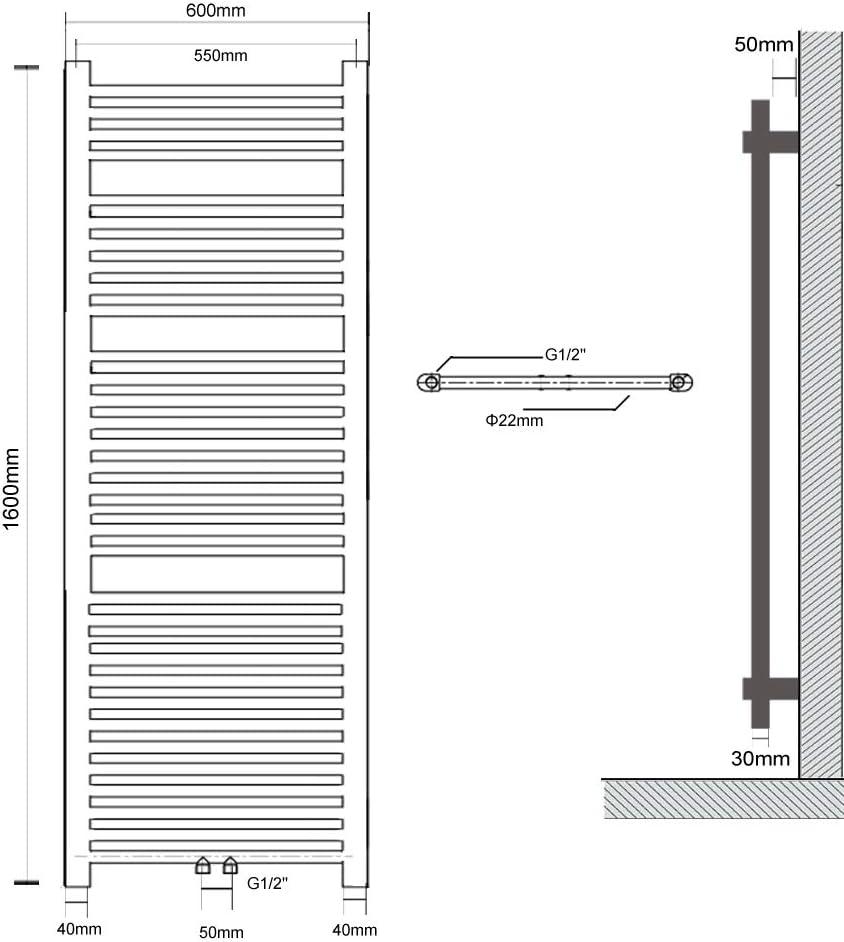 Badezimmer Eisen Kunst Wasser Rohr Wand H/ängendes Handtuchhalter S SIENOC Haushalt-trocknen-Tuch-Zahnstange-Antibakteriell-Entfeuchtung-Kohlenstoffarmer Stahl 150 x 60 cm, Wei/ß