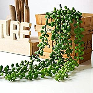 Artiflr Artificial Hanging Plants Fake Succulents String of Pearls Fake Hanging Basketplant Lover's Tears Succulent Branch for Home Kitchen Office Garden Wedding Decor 5