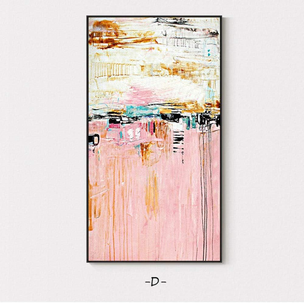 Abstracto nórdico Rosa Salpicadura Color Lienzo Póster con impresión Estilo Cuadro decoración Moderna Pared Arte Cuadros para Sala de Estar Dormitorio pasillo-70x132cm-Sin Marco