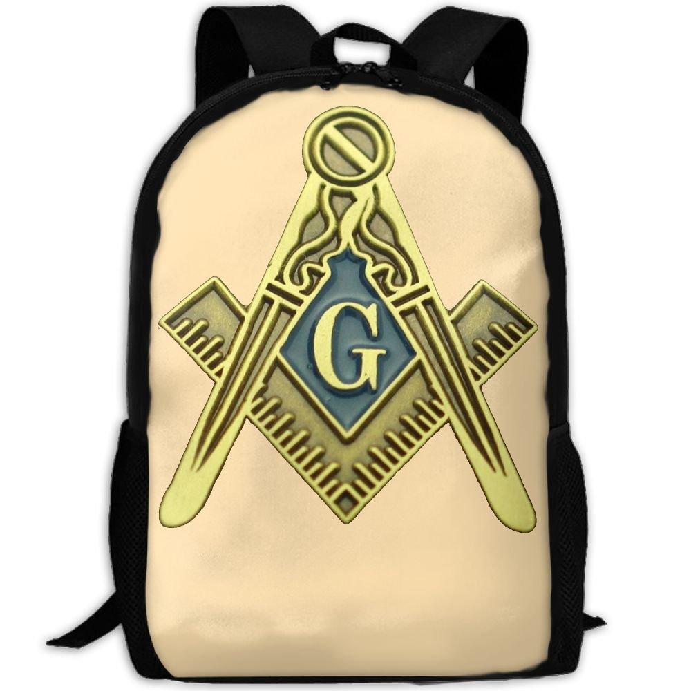 Masonic Symbol ユニークなアウトドアショルダーバッグ ファブリックバックパック 多目的デイパック 大人用 B078H6Z427