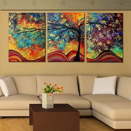 zlhcich Triple árbol Grande Pintura al óleo Pintura Decorativa ...