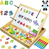 Educational Toy XL Wood Magnetic Letters/Numbers/Animals Set (151 Pieces) - Learning Wooden Puzzle | Drawing Board with Writing Drawing Doodle Side Dry Erase Board for Kids by JQP