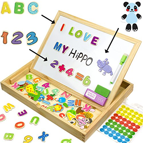 Educational Toy XL Wood Magnetic Letters/Numbers/Animals Set (151 Pieces) - Learning Wooden Puzzle | Drawing Board With Writing Drawing Doodle side Dry Erase Board For Kids By JQP (Center Interactive Learning)