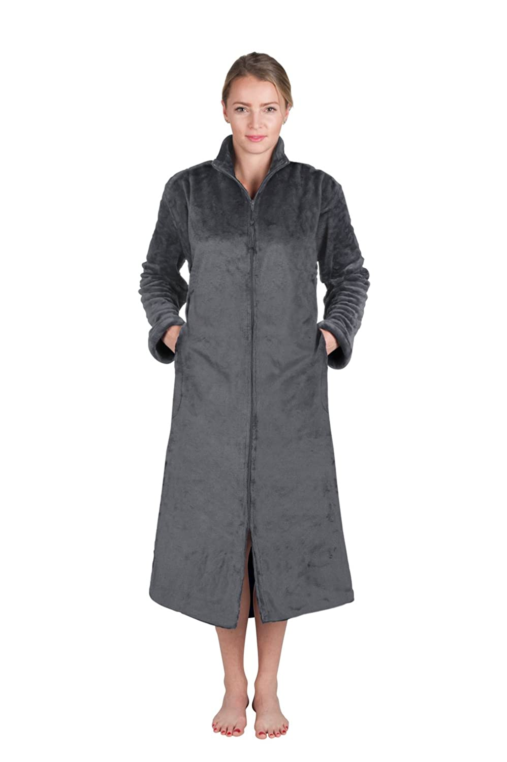 Super Plush Front Zipper Scroll Texture Robe Zipper Bathrobe (XLarge, Shades of Gray) 7032-XL-Gray