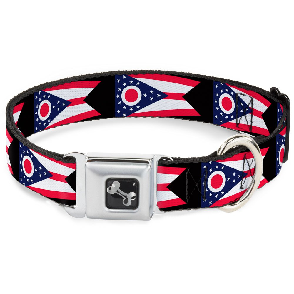 Buckle-Down 11-17  Ohio Flag Repeat Black Dog Collar Bone, Medium