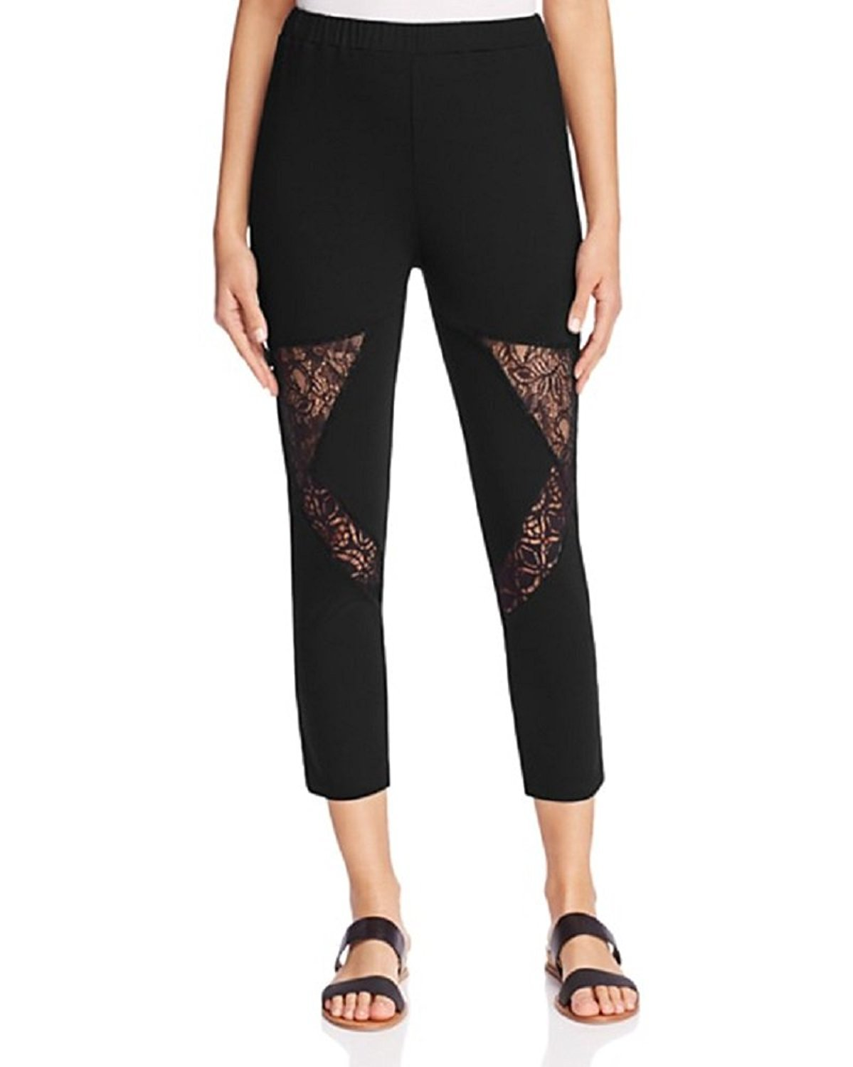 Finity Lace Inset Leggings (Black, 4)