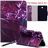 Galaxy Tab A 10.1 Case, Newshine Magnetic PU Leather Folio Stand Case with Auto Sleep/Wake Function [Card/Money Holder] For Samsung Galaxy Tab A 10.1-Inch SM-T580/T585 2016 Release - Fuchsia Marble