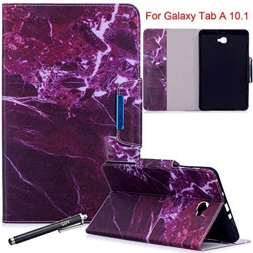 Galaxy Tab A 10.1 Case, Newshine Magnetic PU Leather Folio Stand Case with Auto Sleep/Wake Function [Card/Money Holder] For Samsung Galaxy Tab A 10.1-Inch SM-T580/T585 2016 Release - Fuchsia Marble by NewShine