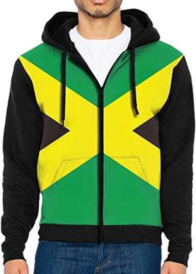 Mens Hoodies Jamaican Flag Fashion Pullover Hooded Print Sweatshirt Jackets