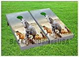CORNHOLE Set BEANBAG TOSS GAME Horses Running w Bags Boards 76