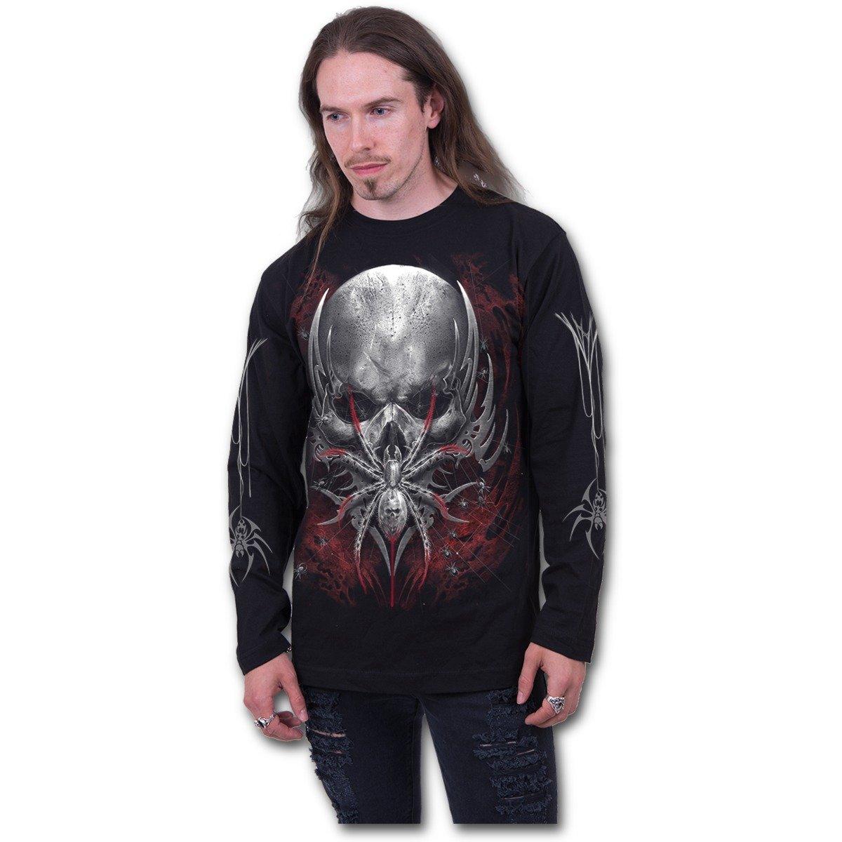 Spiral Spider Skull - Longsleeve T-Shirt Black Spiral Direct Ltd D073M301