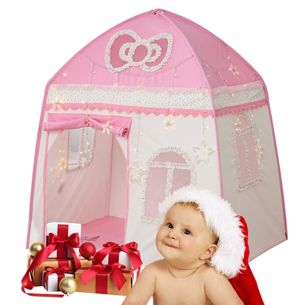 Samber Children Child Kids Play Tent Children Play House Girls Princess Castle Tent Prince House Children Games House Foldable Tent for Indoor/Outdoor Use (Pink/B)